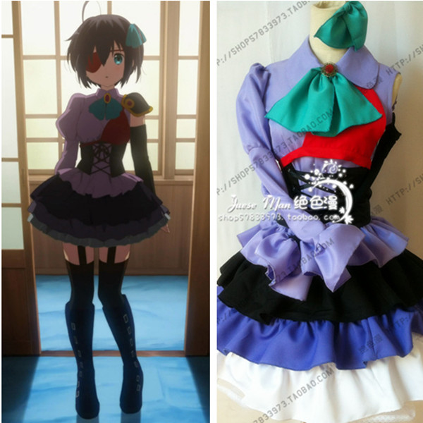 Cyuunibyou Demo Koigashitai Takanashi Rikka Lolita Purple Dress Costumes Anime Cosplay Clothes