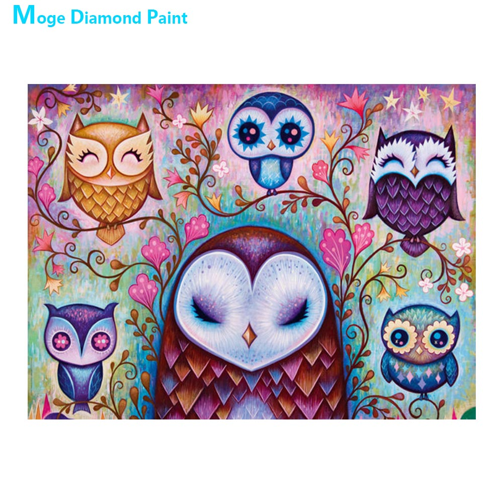 Cartoon Owl Moge Diamond Painting animal Round Full Drill 5D Nouveaute DIY Mosaic Embroidery Cross Stitch home decor gifts