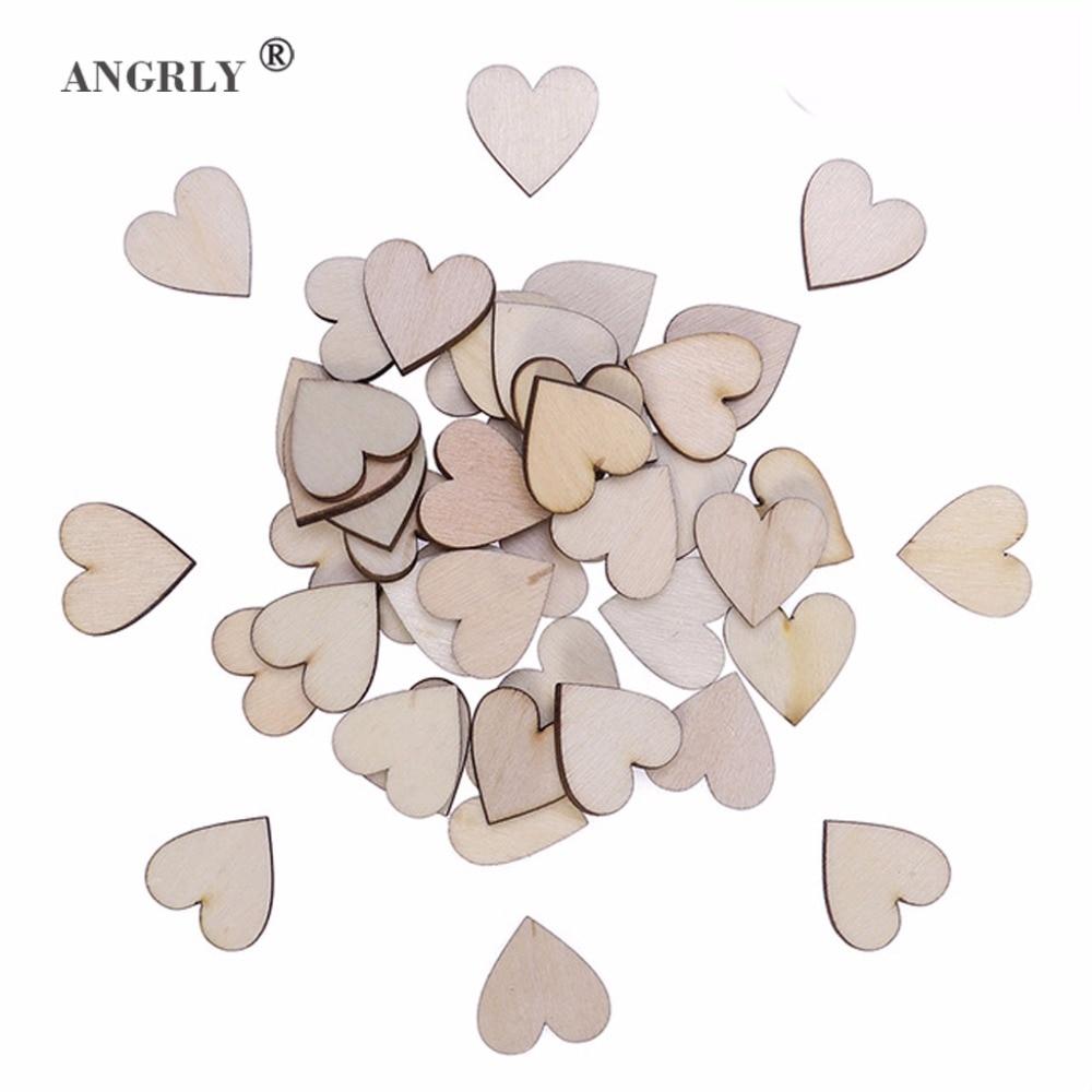 ANGRLY 50pcs 20mm Wooden Heart Kids Birthday Party Supplies Diy Scrapbook Craft Wedding Decoration ValentineS Day