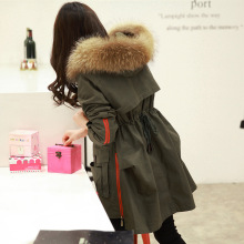 2015  Winter Big Raccoon Fur Collar Coat Female Waist Ladies Padded Dovetail Jacket
