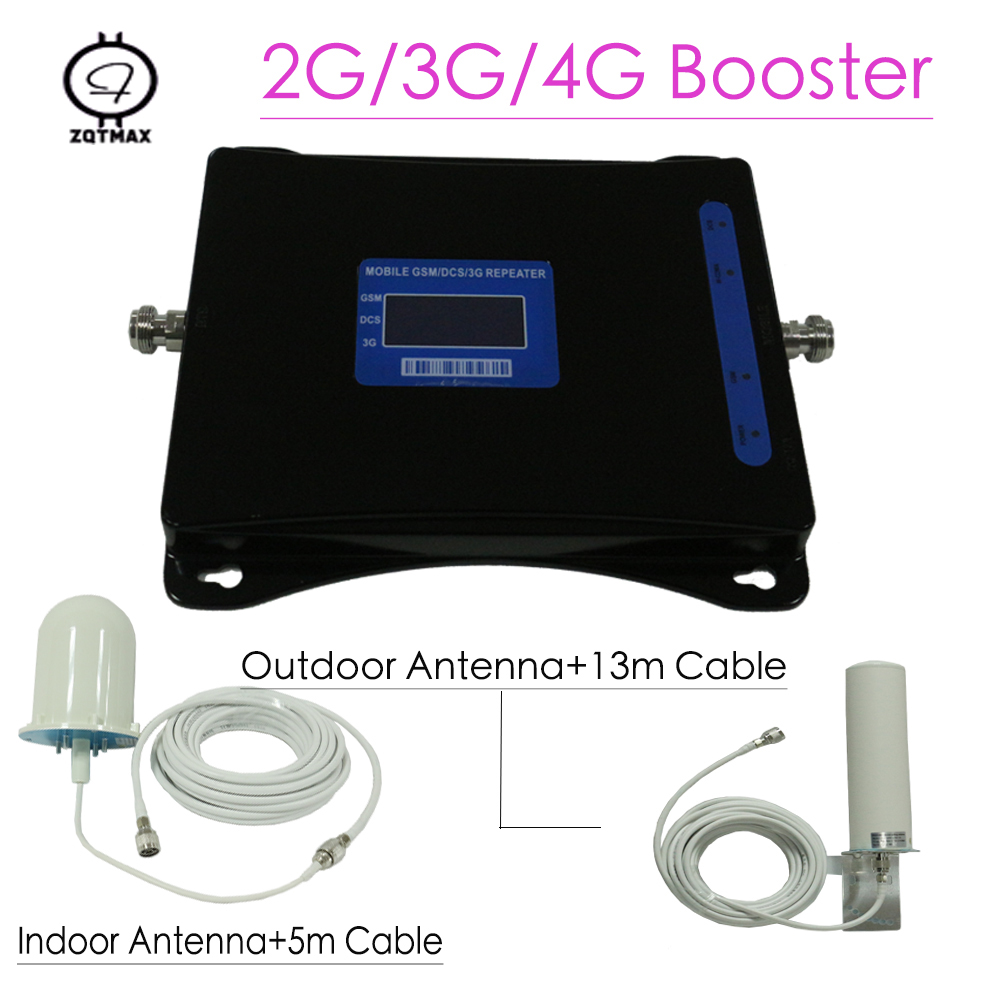 ZQTMAX 900 1800 2100 2G 3G 4G Tri Band Mobile Phone Signal Booster LTE UMTS Cellular Signal Amplifier DCS GSM Repeater Antenna