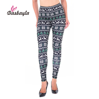 Dasbayla 2017 Autumn Women Casual Leggings Christmas Print High Waist stretch Skinny Pencil Pants Sexy ladies leggings