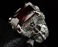 925 Sterling Silver Retro China Dragon Ring Claw Men Thai Silver Fine Jewelry Gift Red Garnet