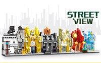 Hot City Mini Street View Building Block World Famous Brand Profumeria Couture Jewelry Shoe Store Watch