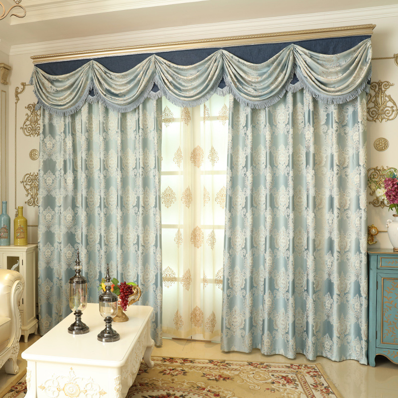 European Style Jacquard Blue Yellow Window Blackout Curtains For Bedroom Living Room Villa Hotel