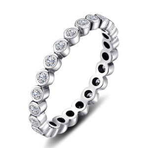 Image 2 - JPalace Cubic Zirconia Ring 925 Sterling Silver Rings for Women Stackable Ring Eternity Band Silver 925 Jewelry Fine Jewelry
