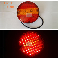 E Mark 1 Pair HOT 10 30V 63 LED Round Rear Tail Lights Red With Yellow