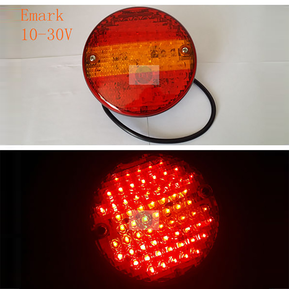 12V Car LED Rear Lights red with yellow for Truck Trailer E-mark Stop lamp light source led Indicator auto round Rear Tail lamps