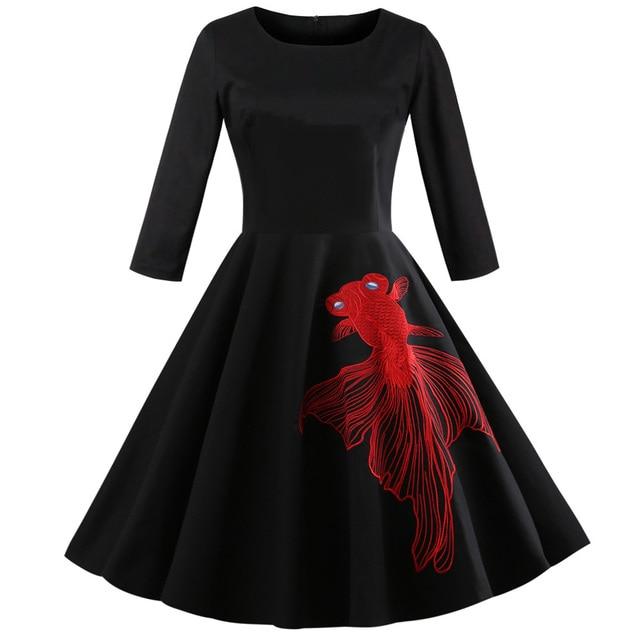 Kenancy 2018 Plus Size Cotton Women Vintage Dress 1960s Audrey Hepburn  Rockabilly Swing Party Vestidos Goldfish Embroidery Dress e899808a43ec