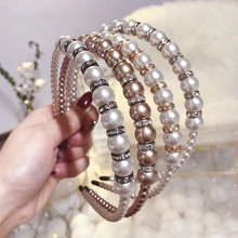 Hair Accessories Diamond Pearl Headbands For Women Crystal Hairbands Girls Hair Bows Crown Headband Hair Hoop korea pearl shining bow hairbands hair accessories crystal hair bows flower crown headbands for women 4