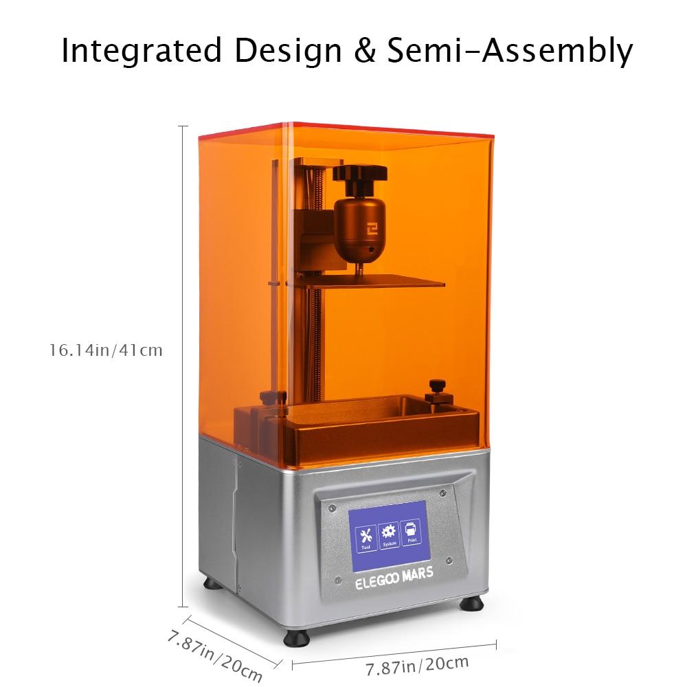 ELEGOO Mars UV Photocuring LCD 3D Drucker mit 3.5 ''Bildschirm Off-line Druck 120cm(L) x 70cm(W) x 155cm(H) Druck Größe Silber