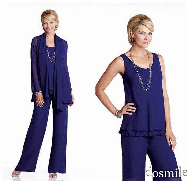 ef41f06b2fa1 2016 en mousseline de soie bleu royal mère de la mariée costumes pantalons  tenue de soirée