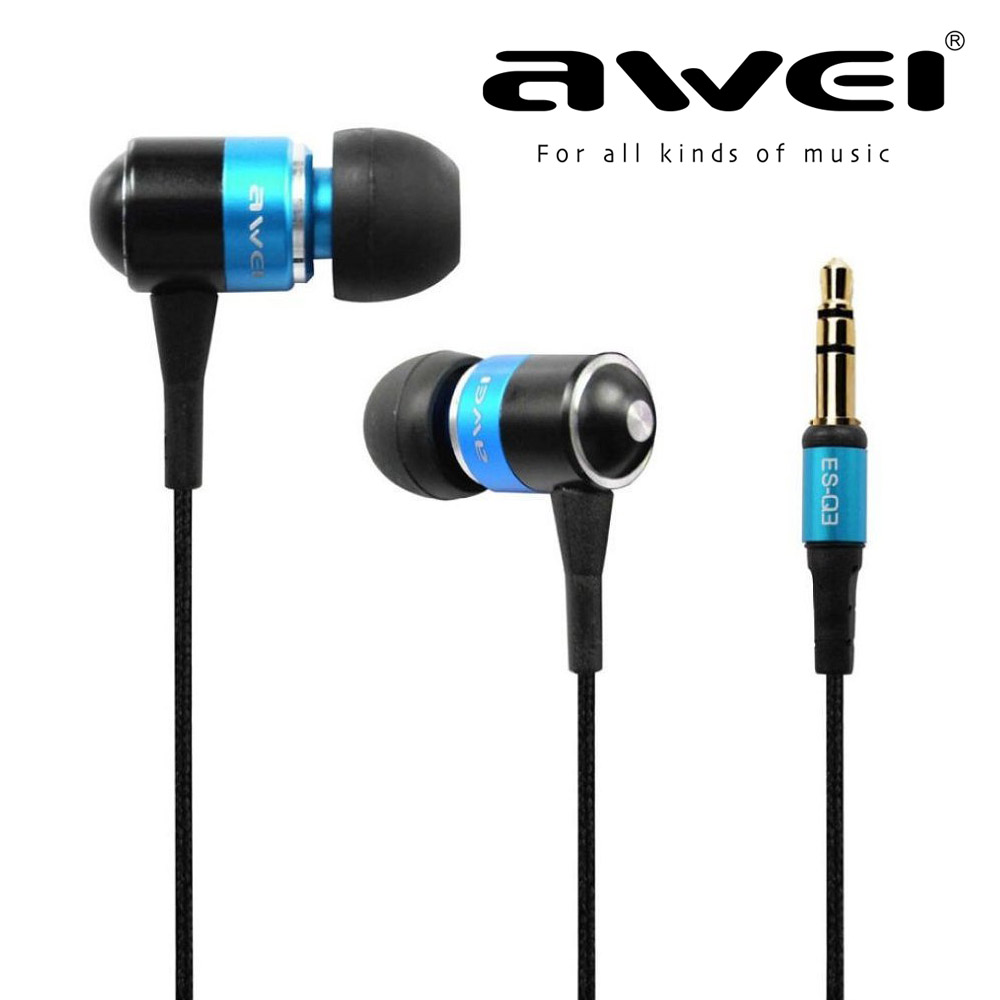 Awei Q3 In-Ear Style Earphone Sport High Quality Wire Earphones Noise Cancelling For Mobil phone Xiaomi iphone MP3 MP4 PC купить