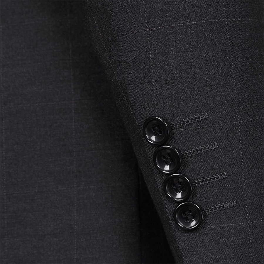男性のスーツスリムフィット 2 ボタンツイードチェック柄 3 ピースのスーツタキシードビジネスウェディングパーティー