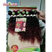 선염 브라질 머리 8 개/몫 8 인치 곱슬 곱슬 깊은 웨이브 브라질 머리 직조 아프리카 곱슬 머리 번들 선염 버건