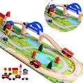 40 pcs conjunto de trilho de trem de madeira blocos de construção de Viaduto Cena Tráfego brinquedos educativos para crianças blocos de brinquedos de madeira