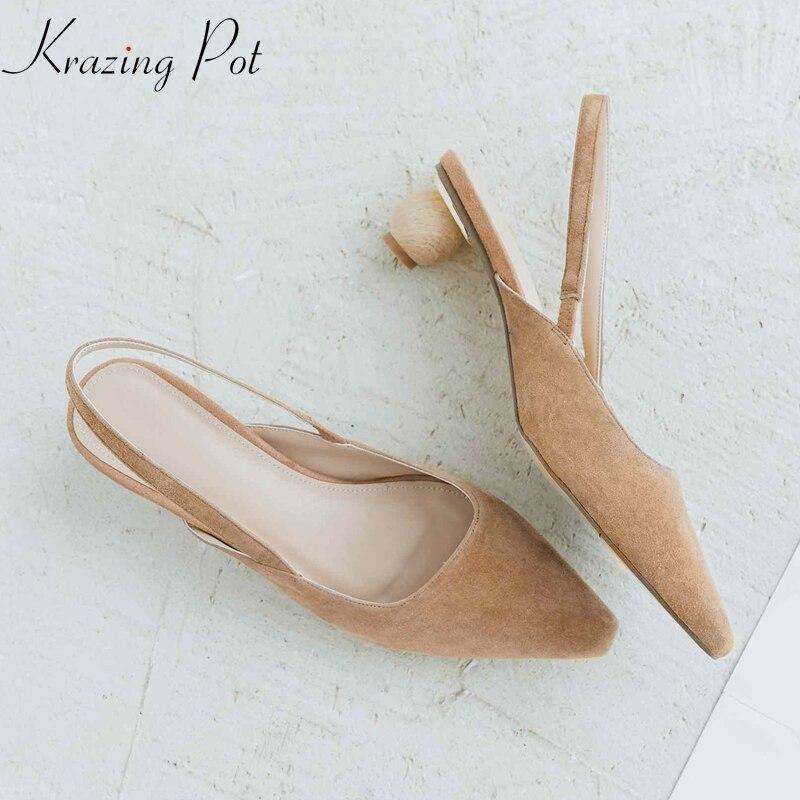 Krazing pot 2019 kid suede luxury lazy style sandals women strange heels solid color summer elastic