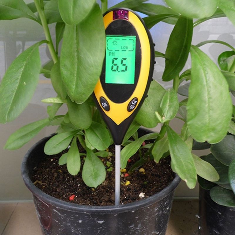 New LCD Display 4 In1 Plant Flowers Soil Survey Instrument PH Meter Temperature Moisture Sunlight Tester For Agriculture