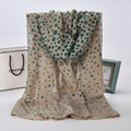 2016 New Women Chiffon Dot Printed Designer Scarf Summer Beach Gradient Plaid Flower Casual Silk Scarves Long Wrap Pashmina J048