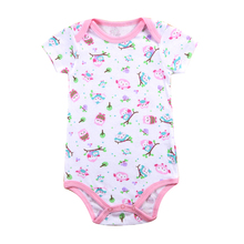 Baby Summer Underwear Boys Cartoon Jumpsuit Short-Sleeve Infant 100%Cotton Cute Print