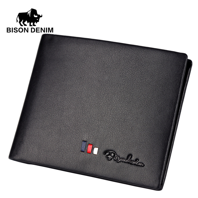 BISON DENIM 2016 Italian Designer Wallets leather genuine wallet for men Black business casual ID card / card holder N4382