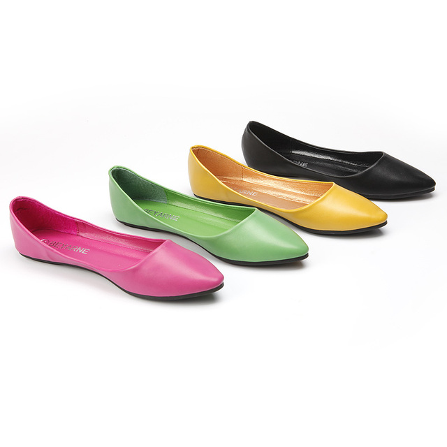 Best Selling Beyarne Zapatos Mujer 2016 New Plain Candy Color Shallow Pointed Toe Plus size 41 Single Lady Ballerina Shoes Flats