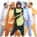 Flannel Unisex Adult Hooded Nightwear Spring Autumn Cartoon Animal Couple Home Pyjamas Sleepwear Women Men Carnival Costumes