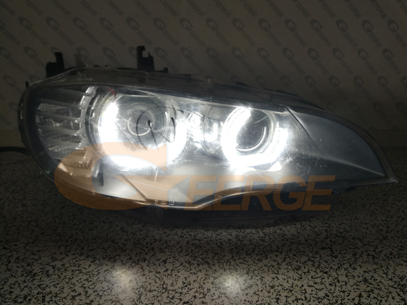 For BMW X6 E71 E72 X6M 2008-2014 Xenon headlight Excellent DTM M4 Style Ultra bright led Angel Eyes kit