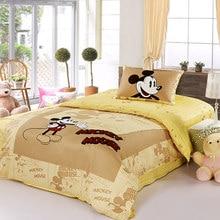 9b21d49ef0 Marca DISNEY Mickey Mouse Conjunto de Cama 100% Algodão Folha de Capa de  Edredão Dos Desenhos Animados Amarelo Único Conjunto Qu.