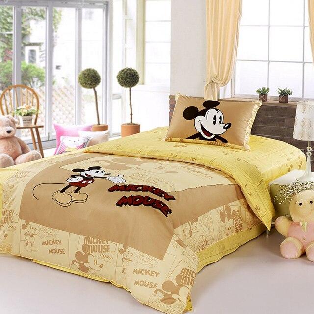 Disney Brand Mickey Mouse Yellow Bedding Set 100 Cotton Cartoon