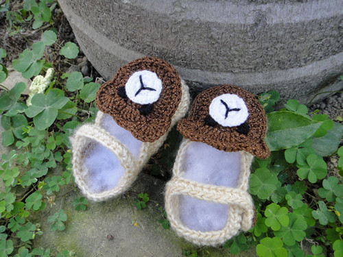 Handmade Crochet  Cotton Soft Baby girl boy New Shoes animal  appliques bear for beanie 0-12 months ivory brown
