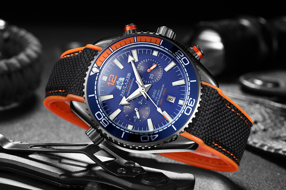 HTB1RjFgd8WD3KVjSZKPq6yp7FXaQ Automatic Self Wind Mechanical Canvas Rubber Strap James Bond 007 Style Orange Blue Red Multifunction Date Month Men Sport Watch