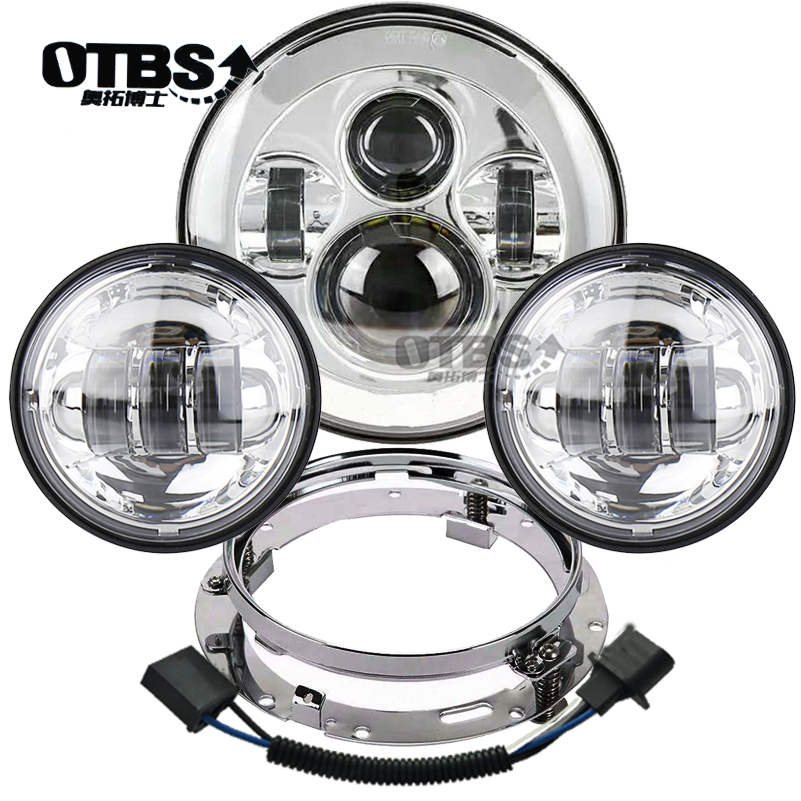 "OTBS Motorcycle 7"" LED Headlight + 2pcs 4-1/2"" Fog Lights With Bracket For Harley Road King Electra Street Glide Softail Fatboy"