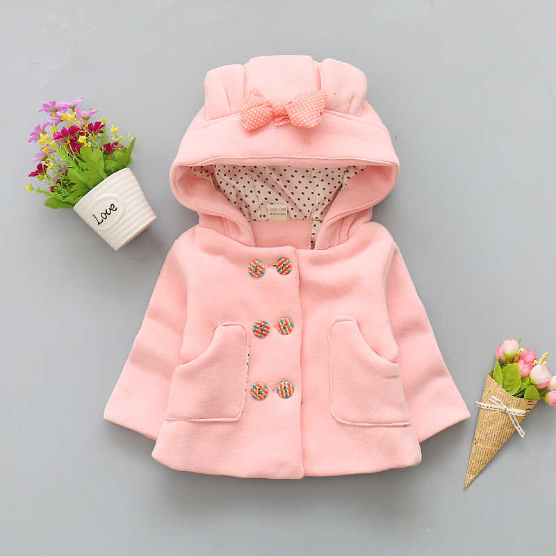 BibiCola New Winter Children baby girl  Warm Outerwear Clothing Cartoon Jacket Coat Baby Kids  White parkas And hoodies Clothes