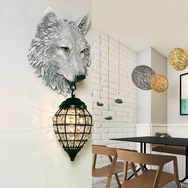modern nordic resin wolf wall lamp creative LED animal fixture for living room loft industrial cafe bar E27