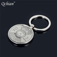 Perpetual Calendar Keychain Unique Metal Keys Chain Ring Fobs Trinket Ornament Accessories 50 Year novelty fine jewelry Keyring