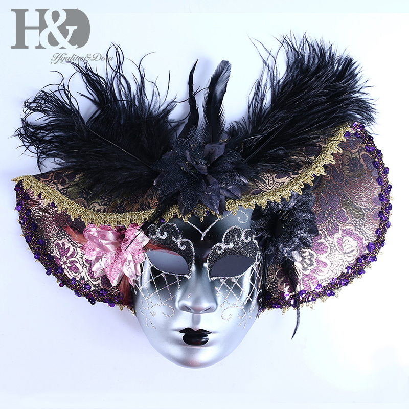 Image 2 - H&D Elegant Black Feather Hat Full Face Venetian Mask Halloween Masquerade Party Masks Italy Lady Mask Party Favor GiftsParty Masks   -