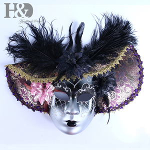 Image 2 - H&D Elegant Black Feather Hat Full Face Venetian Mask Halloween Masquerade Party Masks Italy Lady Mask Party Favor Gifts