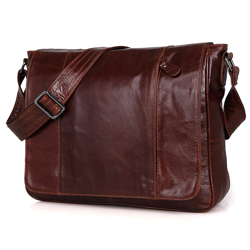 Nesitu classic vintage commercial shoulder bag genuine leather men's messenger bag casual cowhide office bags brown #MD-J7338