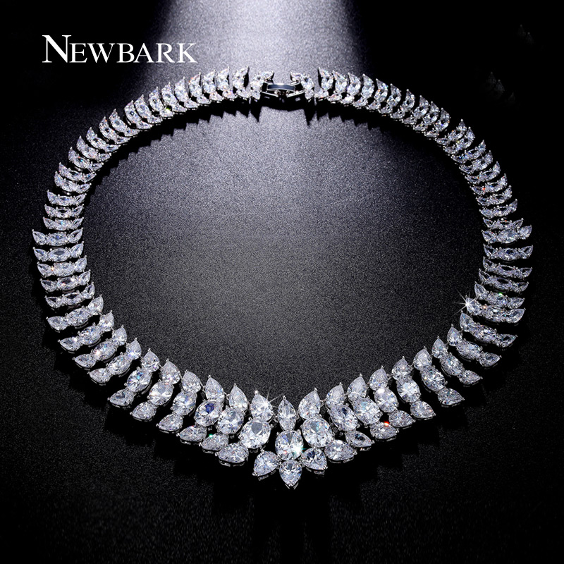 NEWBARK Statement Necklace Luxury Design Colar Big CZ Diamond Necklaces & Pendants White Gold Plated Vintage Jewelry Collares