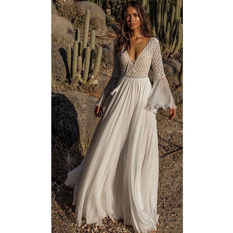 0bac65e6c8 Women Dress White Lace Long Sleeve Flare V Neck Sexy Beach Dress Tunic Maxi  Chiffon Dress
