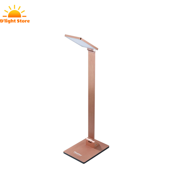 Eu Table Lamp Square 3brightness Levels Finether 10w Touch Activated Head Folding Aluminum Led Desk
