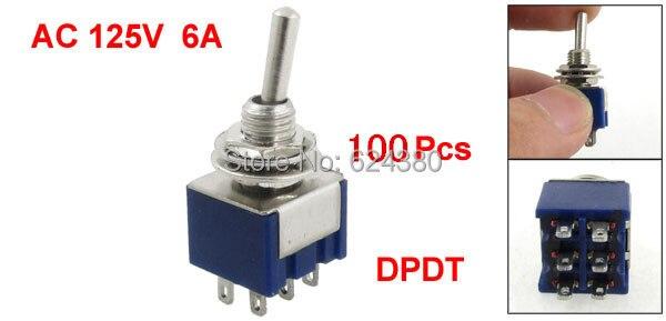 """1 упаковка (100 шт./лот) X 6 мм 0,23 """"резьбовые вкл/выкл Блокировка блокировки два 2 положения DPDT 2P2T тумблер 6 Pin 6A 1250V AC"""