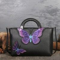 Genuine Leather Women Handbags Tote Bolsa Luxury Fashion Desgiener Crossbody Bags Butterfly Cowhide Messenger Bag Sac