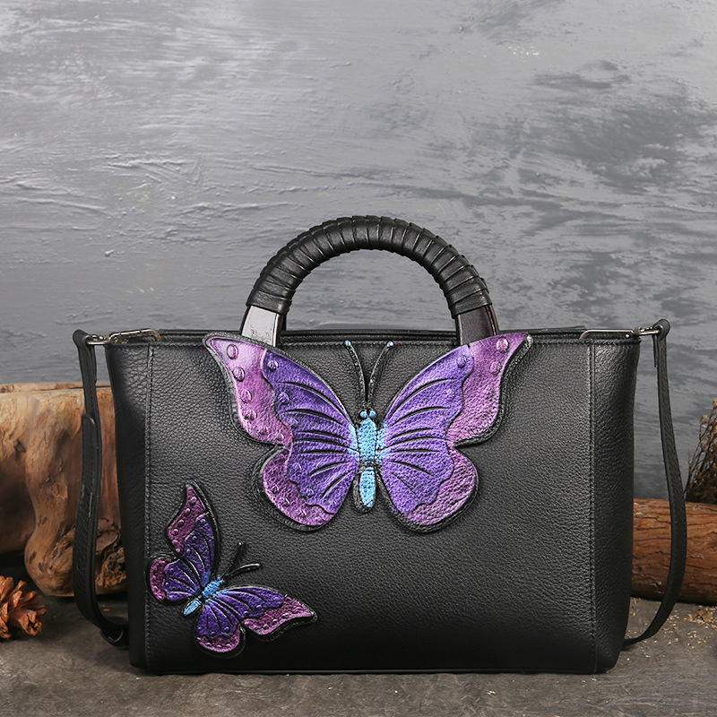 Genuine Leather Women Handbags Tote Bolsa Luxury Fashion Desgiener Crossbody Bags Butterfly Cowhide Messenger Bag Sac a main women tote bag designer luxury handbags fashion female shoulder messenger bags leather crossbody bag for women sac a main