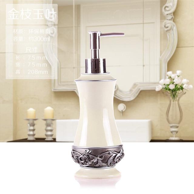 Bathroom Soap Dispenser Set Vintage Rose Flower Jar Lotion Home Decor Storage Bottles