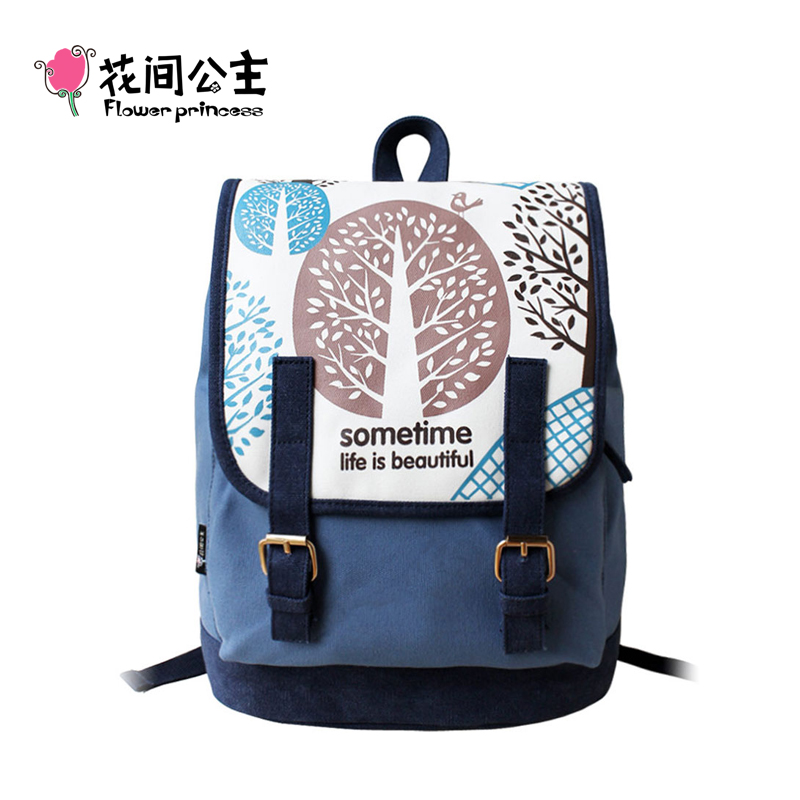 Flower Princess Brand Canvas Backpack Women High School Teenage Girls School Bags Preppy Style Ladies Travel mochila escolar cover co168 04 cover