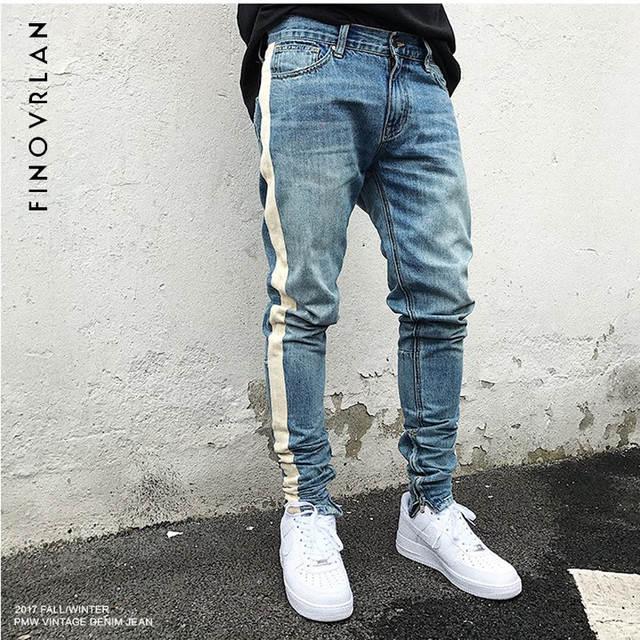 d3af2b103b4 Online Shop 2018 new kanye we st Men Jeans Slim Fit Skinny Denim Jeans fear  of God Waist Hip Hop Classic Blue Quality Trousers stripe Pants