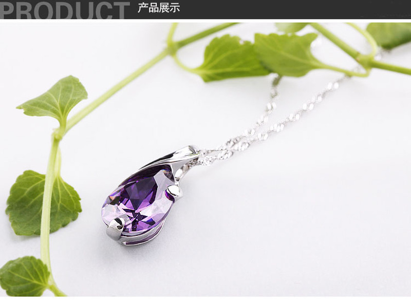 TJP Fashion Girls 925 Sterling Silver Necklace For Women Jewelry Top Quality Crystal Water drop Purple Ladies Choker Necklace in Pendant Necklaces from Jewelry Accessories