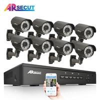 ARSECUT 1080P Wireless CCTV System 2M 8CH HD WIFI NVR Kit Outdoor IR Night Vision IP